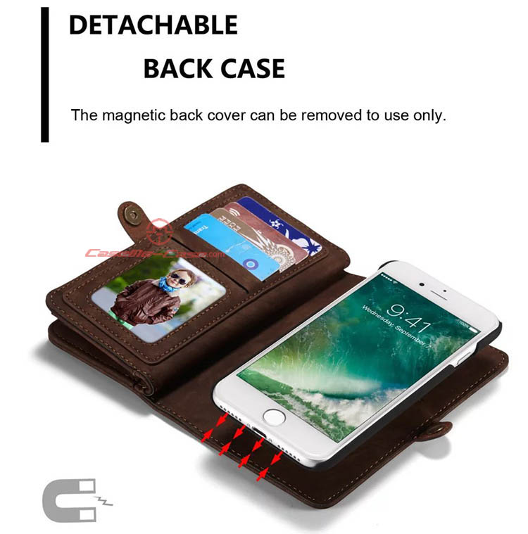 CaseMe iPhone 7 Detachable 2 in 1 Zipper Wallet Folio Case Brown