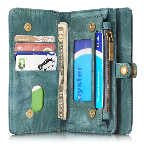 CaseMe iPhone 7 Detachable 2 in 1 Zipper Wallet Folio Case Green