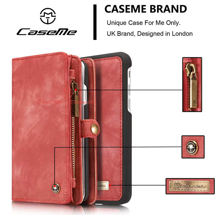 CaseMe iPhone 7 Detachable 2 in 1 Zipper Wallet Folio Case Red