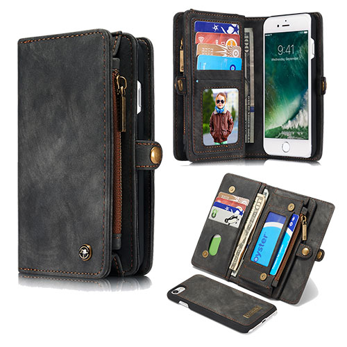CaseMe iPhone 8 Plus Detachable Zipper Wallet Folio Case Black