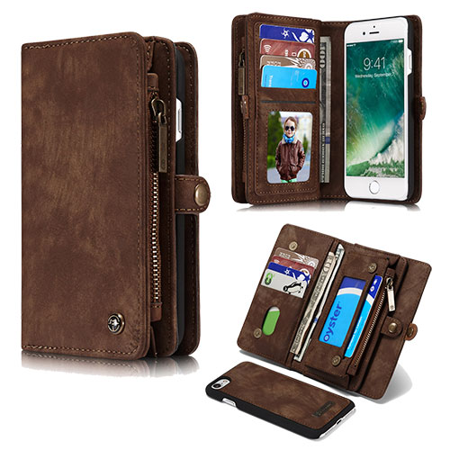 CaseMe iPhone 8 Plus Detachable Zipper Wallet Folio Case Brown