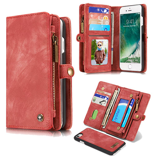 CaseMe iPhone 8 Plus Detachable Zipper Wallet Folio Case Red