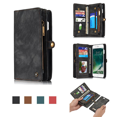 CaseMe iPhone 8 Zipper Wallet Detachable Folio Case Black