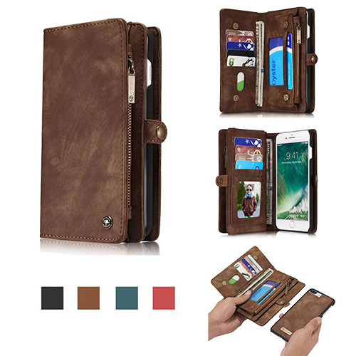 CaseMe iPhone 8 Zipper Wallet Detachable Folio Case Brown