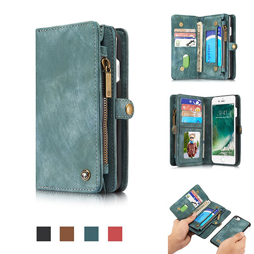 CaseMe iPhone 8 Zipper Wallet Detachable Folio Case Green