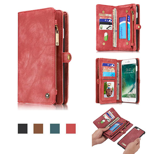 CaseMe iPhone 8 Zipper Wallet Detachable Folio Case Red