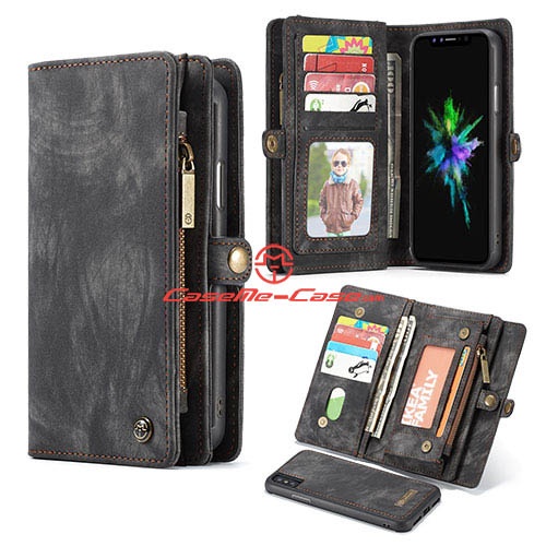 CaseMe iPhone X Detachable Zipper Wallet Magnetic Folio Case Black