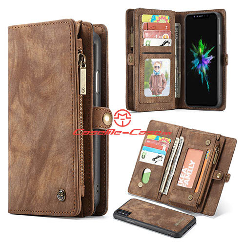CaseMe iPhone X Detachable Zipper Wallet Magnetic Folio Case Brown