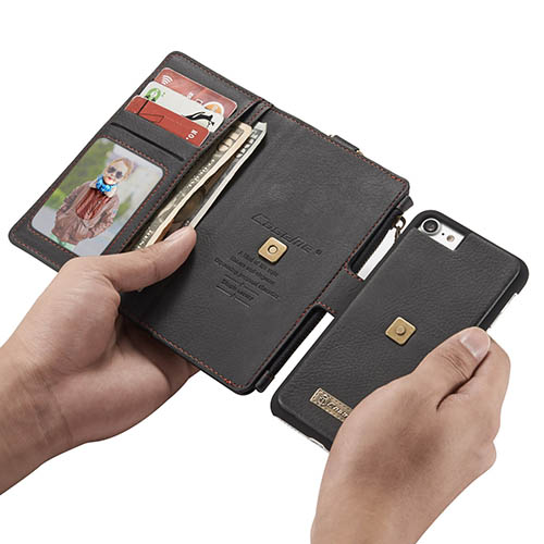 CaseMe iPhone 7 Metal Buckle Zipper Wallet Detachable Folio Case Black