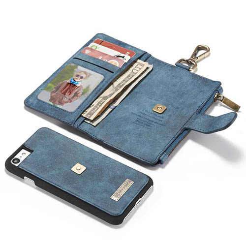 CaseMe iPhone 7 Metal Buckle Zipper Wallet Detachable Folio Case Blue