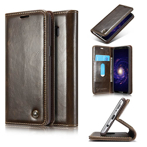 CaseMe Samsung Galaxy S8 Magnetic Flip PU Leather Wallet Case Brown