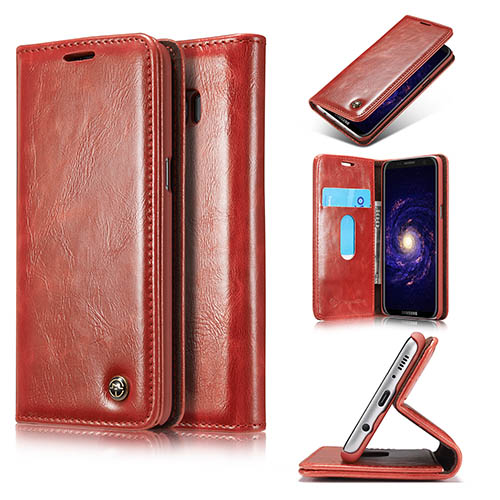 CaseMe Samsung Galaxy S8 Magnetic Flip PU Leather Wallet Case Red