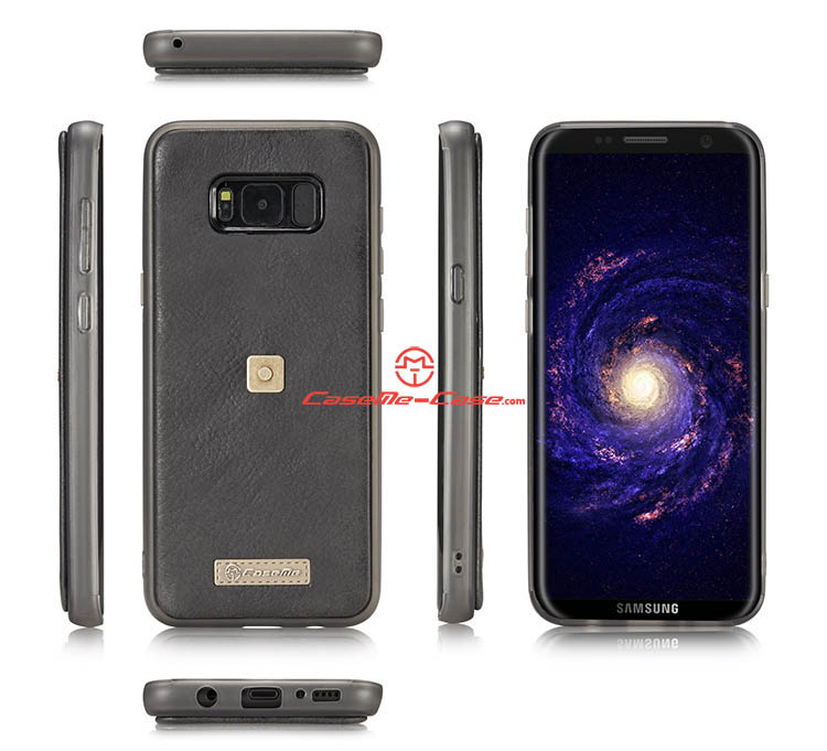 CaseMe Samsung Galaxy S8 Metal Buckle Zipper Wallet Detachable Folio Case Black