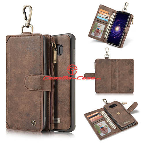 CaseMe Samsung Galaxy S8 Metal Buckle Zipper Wallet Detachable Folio Case Coffee