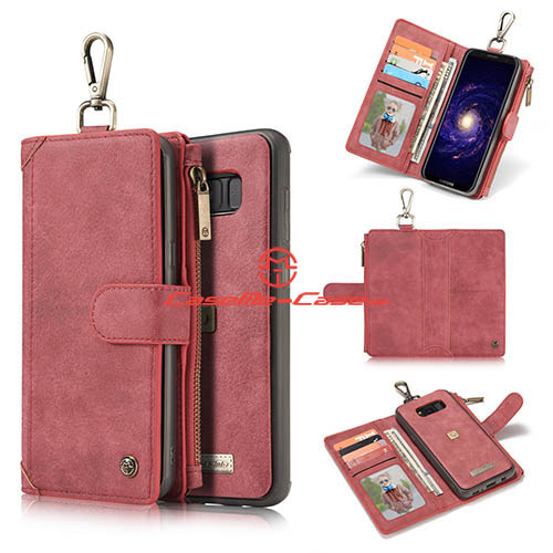 CaseMe Samsung Galaxy S8 Metal Buckle Zipper Wallet Detachable Folio Case Red