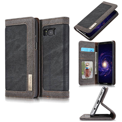 CaseMe Samsung Galaxy S8 Plus Canvas Leather Stand Wallet Case Black
