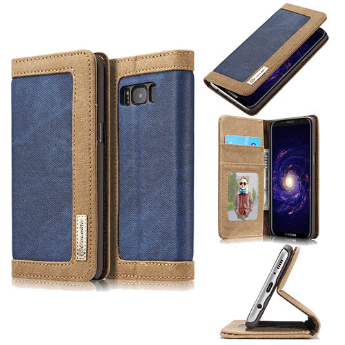 CaseMe Samsung Galaxy S8 Plus Canvas Leather Stand Wallet Case Blue