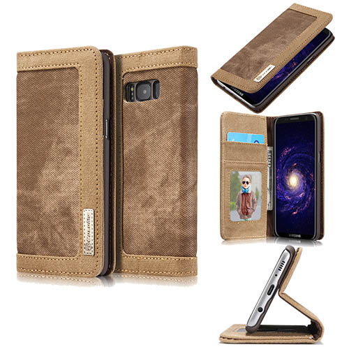 CaseMe Samsung Galaxy S8 Plus Canvas Leather Stand Wallet Case Brown