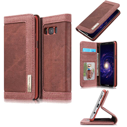 CaseMe Samsung Galaxy S8 Plus Canvas Leather Stand Wallet Case Red