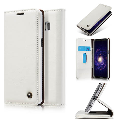CaseMe Samsung Galaxy S8 Plus Magnetic Flip PU Leather Wallet Case White