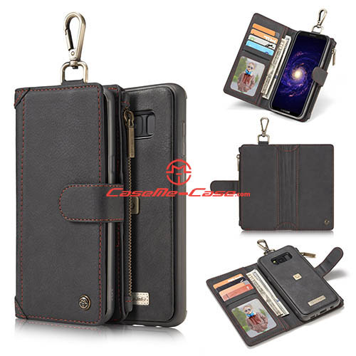 CaseMe Samsung Galaxy S8 Plus Metal Buckle Zipper Wallet Detachable Folio Case Black
