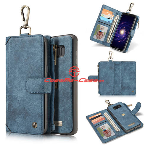 CaseMe Samsung Galaxy S8 Plus Metal Buckle Zipper Wallet Detachable Folio Case Blue