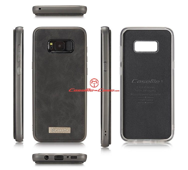 CaseMe Samsung Galaxy S8 Plus Zipper Wallet Detachable 2 in 1 Flip Case Black