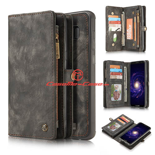 CaseMe Samsung Galaxy S8 Plus Zipper Wallet Detachable 2 in 1 Folio Case Black