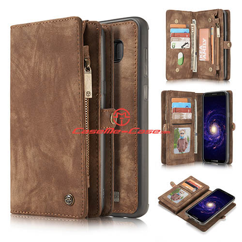 CaseMe Samsung Galaxy S8 Plus Zipper Wallet Detachable 2 in 1 Folio Case Brown
