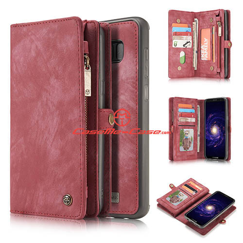 CaseMe Samsung Galaxy S8 Plus Zipper Wallet Detachable 2 in 1 Folio Case Red