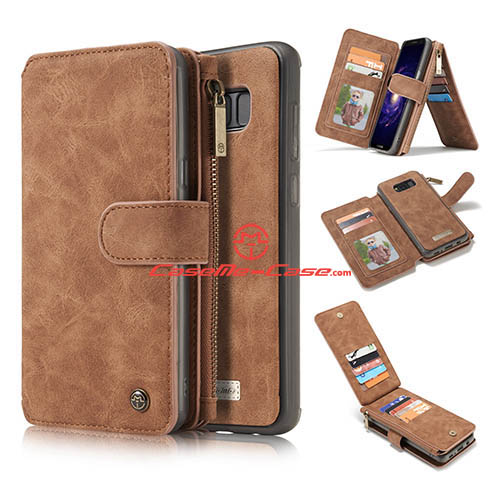 CaseMe Samsung Galaxy S8 Zipper Wallet Detachable 2 in 1 Flip Case Brown
