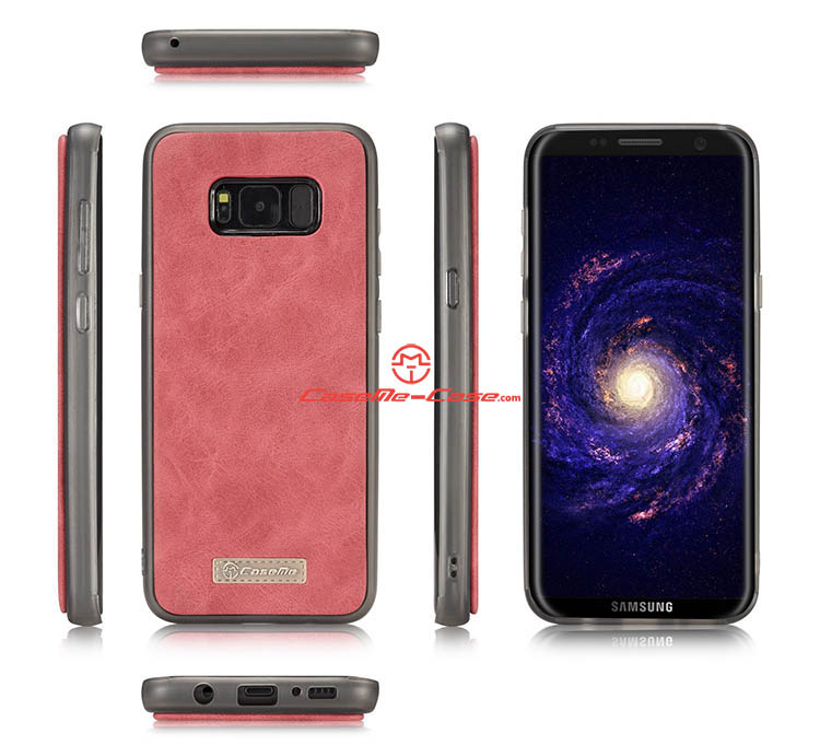 CaseMe Samsung Galaxy S8 Zipper Wallet Detachable 2 in 1 Flip Case Red