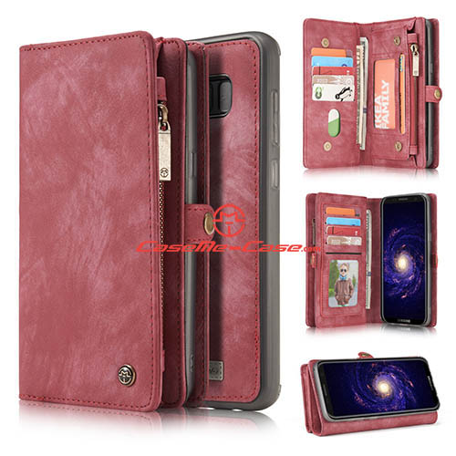 CaseMe Samsung Galaxy S8 Zipper Wallet Detachable 2 in 1 Folio Case Red