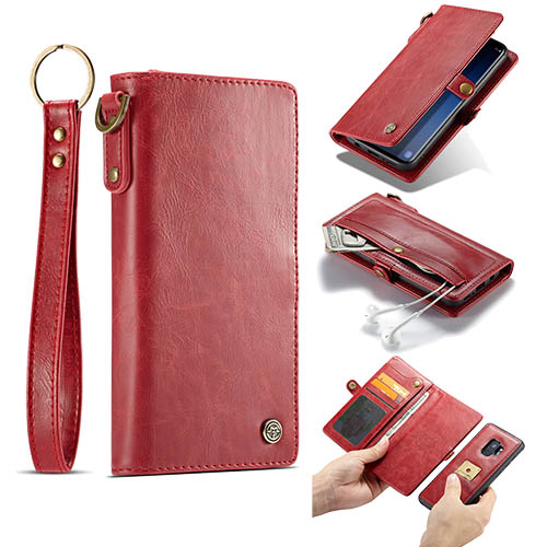 CaseMe Samsung Galaxy S9 Wallet Case With Wrist Strap Red