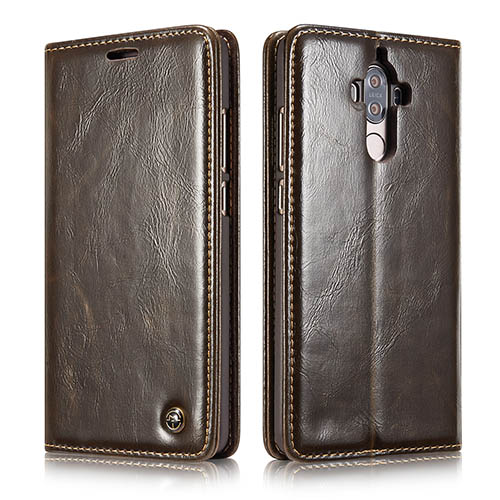 CaseMe Huawei Mate 9 Magnetic Flip PU Leather Wallet Case Brown