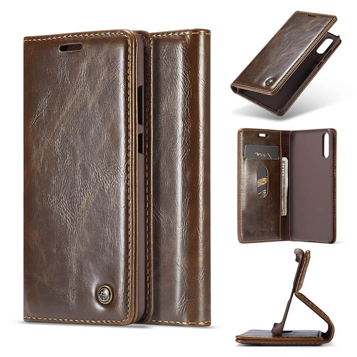 CaseMe Huawei P20 Wallet Magnetic Flip Case Brown