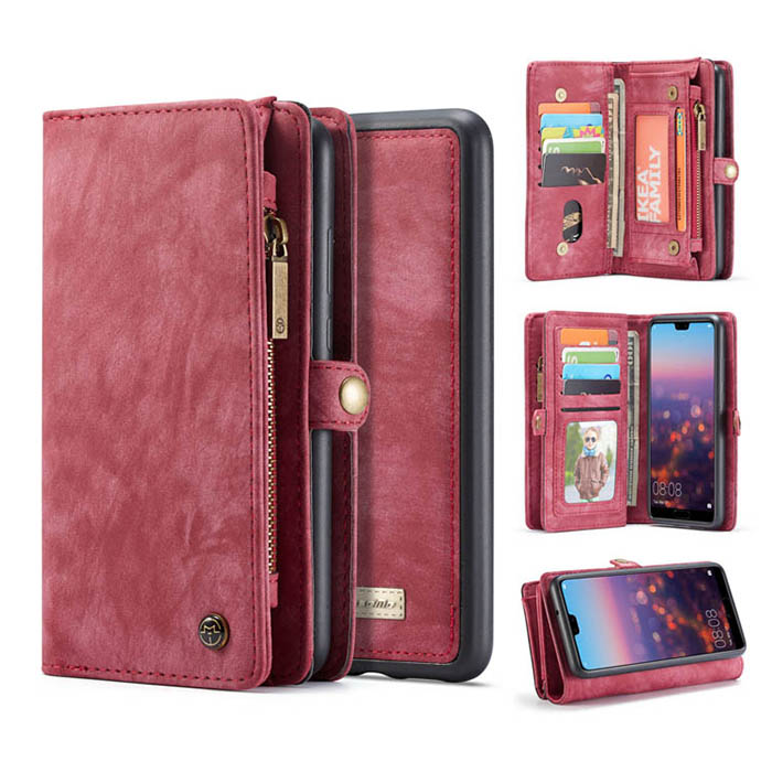 CaseMe Huawei P20 Pro Detachable Wallet Magnetic Case Red