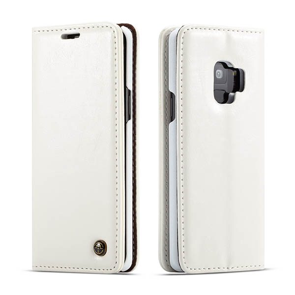 CaseMe Samsung Galaxy S9 Wallet Magnetic Flip Case White