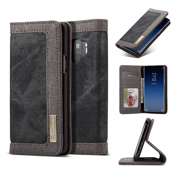 CaseMe Samsung Galaxy S9 Canvas Leather Wallet Case Black