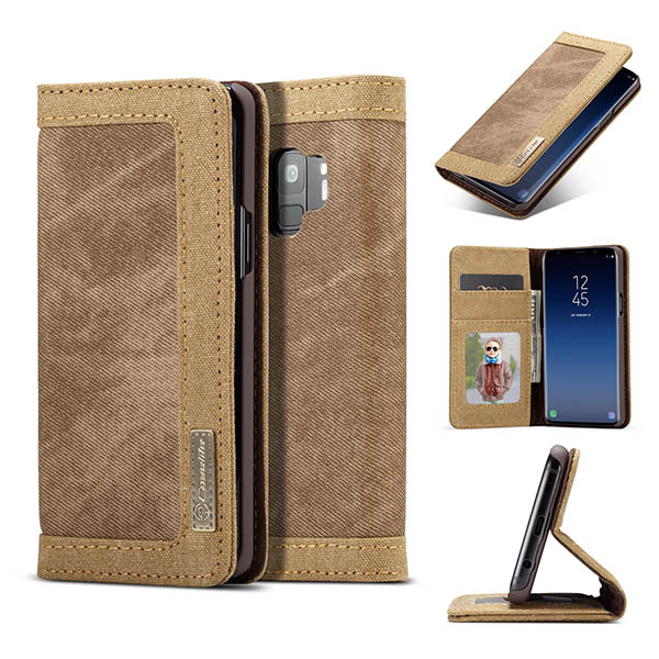 CaseMe Samsung Galaxy S9 Canvas Leather Wallet Case Brown
