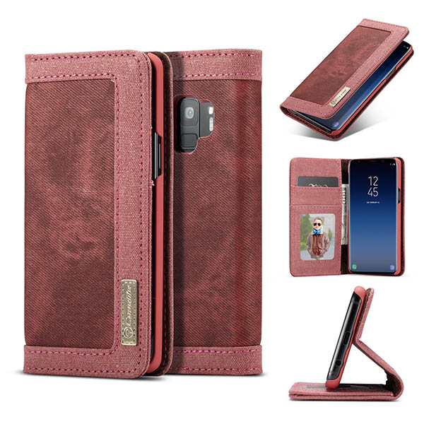 CaseMe Samsung Galaxy S9 Canvas Leather Wallet Case Red