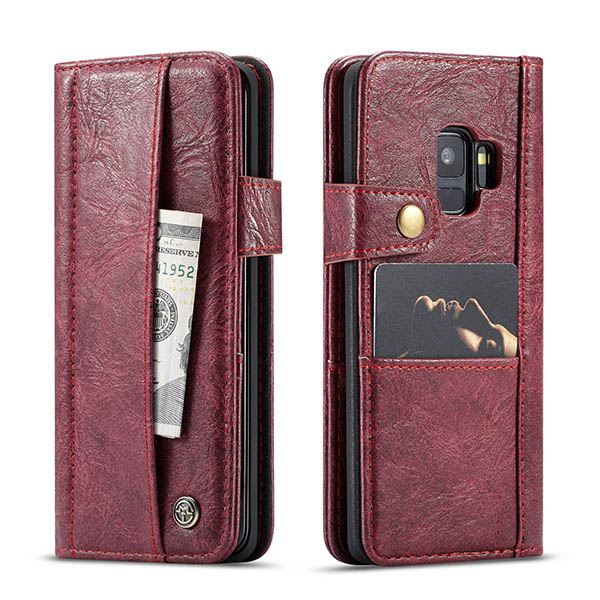 CaseMe Samsung Galaxy S9 Retro Wallet Leather Case Red