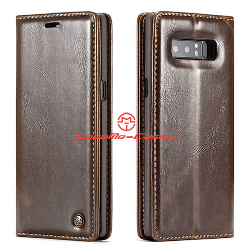 CaseMe Samsung Galaxy Note 8 Wallet Magnetic Stand Case Brown
