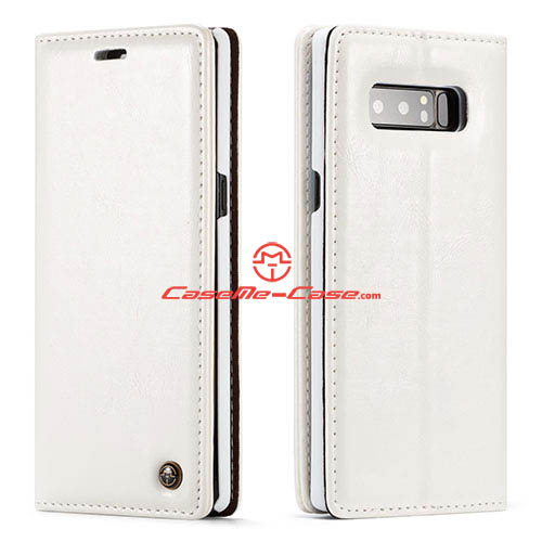 CaseMe Samsung Galaxy Note 8 Wallet Magnetic Stand Case White