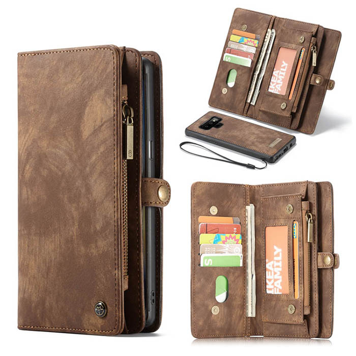 CaseMe Samsung Galaxy Note 9 Zipper Wallet Magnetic Case Brown