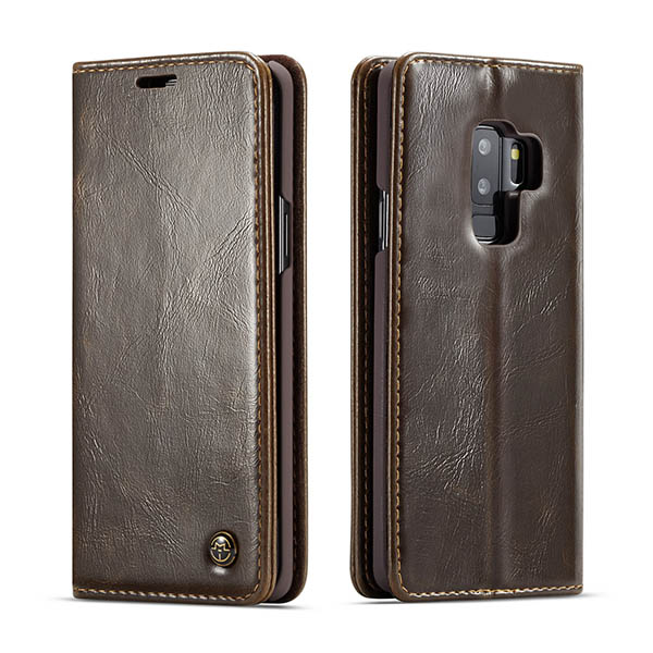 CaseMe Samsung Galaxy S9 Plus Wallet Magnetic Flip Case Brown