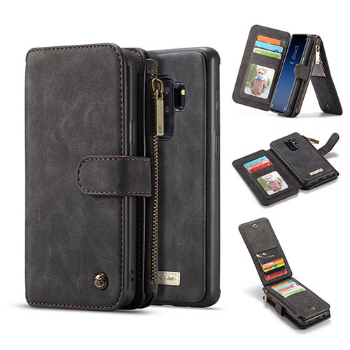 CaseMe Samsung Galaxy S9 Plus removable zipper wallet case black