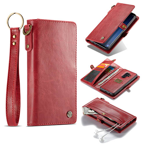 CaseMe Samsung Galaxy S9 Plus Wallet Case With Wrist Strap Red