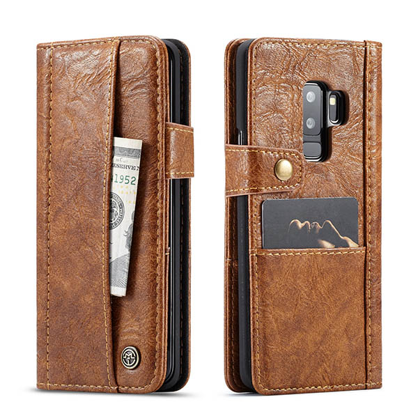 CaseMe Samsung Galaxy S9 Plus Retro Wallet Leather Case Brown