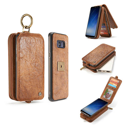 CaseMe Samsung Galaxy S8 Zipper Wallet Magnetic Detachable Flip Leather Case